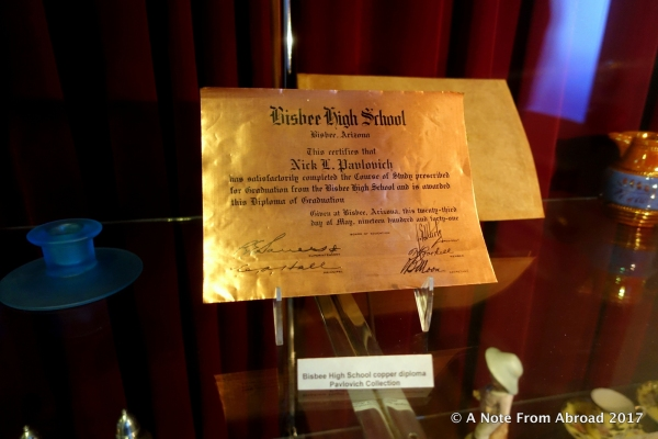 The local high school presented students with a certificate of graduation on copper.