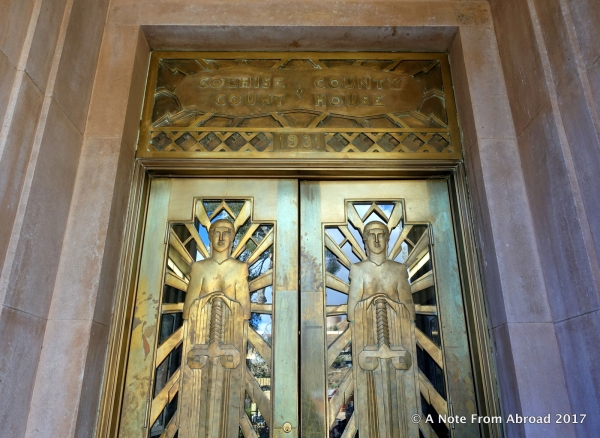 Bronze Pueblo Deco style entry doors for the Cochise County Superior Court
